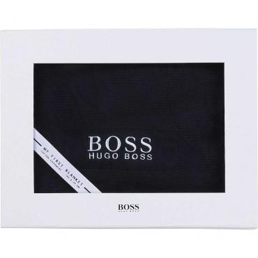 Granatowy koc dla niemowlęcia Hugo Boss 004790 - ekskluzywna wyprawka dla noworodka - sklep internetowy euroyoung.pl