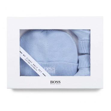 Niebieski komplet niemowlęcy dla chłopczyka Hugo Boss 004795 - wyprawka dla noworodka - ubranka niemowlęce - sklep internetowy e