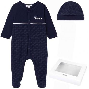 Pajacyk niemowlęcy i czapeczka Hugo Boss 004797 - ekskluzywny prezent, wyprawka dla noworodka - sklep internetowy euroyoung.pl
