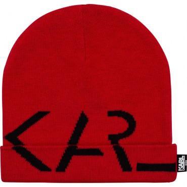 Czerwona czapka dziewczęca Karl Lagerfeld 004798 - ekskluzywne czapki dla dzieci i młodzieży - sklep internetowy euroyoung.pl
