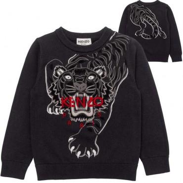 Grafitowy sweter chłopięcy z tygrysem Kenzo 004809 - ekskluzywne bluzy i swetry dla dzieci i młodzieży - sklep odzieżowy euroyou