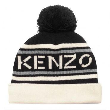Dziecięca czapka z pomponem Kenzo 004814 - zimowe czapki dla dzieci - sklep internetowy euroyoung.pl