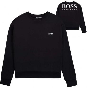 Czarna bluza dla chłopca Hugo Boss 004822 - ekskluzywna odzież dla dzieci i młodzieży - sklep online euroyoung.pl