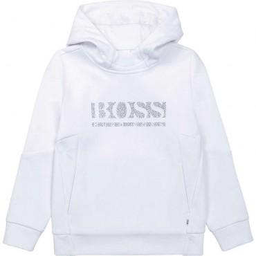 Biała bluza chłopięca z kapturem Hugo Boss 004823 - sklep internetowy z markowymi ubraniami dla dzieci i młodzieży euroyoung.pl