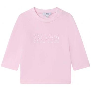 Różowa koszulka niemowlęca Hugo Boss 004830 - ekskluzywna odzież dla niemowląt i małych dzieci - sklep