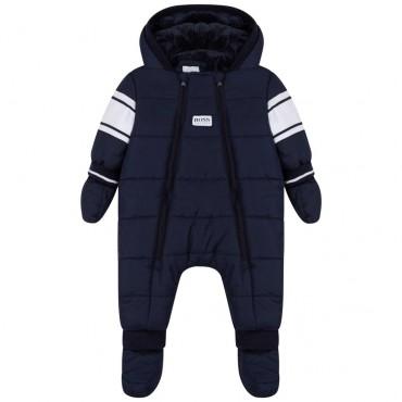 Granatowy kombinezon niemowlęcy Hugo Boss 004831 - zimowe kurtki, kombinezony, płaszcze dla dzieci - sklep z ubraniami