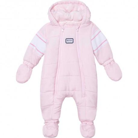 Różowy kombinezon niemowlęcy Hugo Boss 004833 - zimowe okrycia wierzchnie dla dzieci - sklep internetowy euroyoung.pl