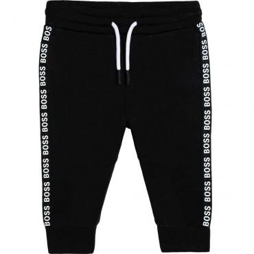 Czarne spodnie dla niemowlęcia Hugo Boss 004761 - ekskluzywne dresy niemowlęce - sklep internetowy euroyoung.pl