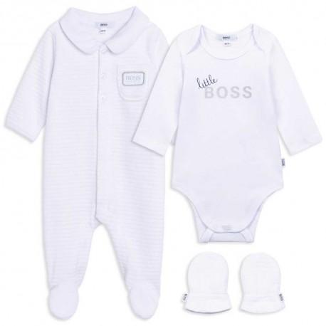Komplet niemowlęcy gift box Hugo Boss 004834 - ekskluzywne śpioszki, pajacyki, body - internetowy sklep z ubraniami dla dzieci