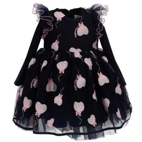 Granatowa sukienka niemowlęca Monnalisa 004839 - ekskluzywne sukienki dla diewczynek - internetowy sklep z ubraniami dla dzieci