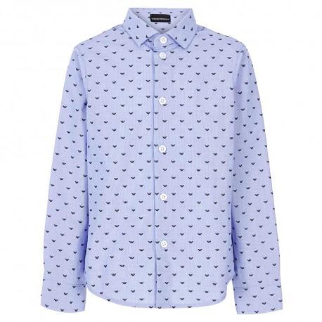 Niebieska koszula chłopięca Emporio Armani 004841 - eleganckie ubrania dziecięce na wyjątkowe okazjie - sklep internetowy euroyo