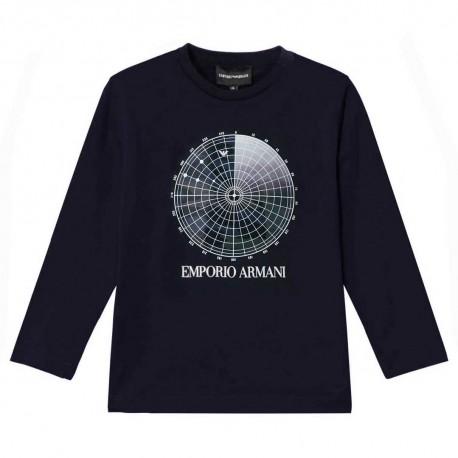 Granatowa koszulka chłopięca Emporio Armani 004843 - ekskluzywne ubrania dla dzieci i młodzieży - internetowy sklep odzieżowy eu