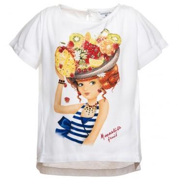 Koszulka MONNALISA 117627S7 7105 0099, euroyoung, luksusowa odzież dla dzieci.