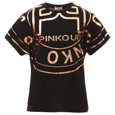Czarny t-shirt dziewczęcy Pinko Up 004880 - sklep z ekskluzywnymi ubraniami dla nastolatek euroyoung.pl