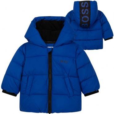 Zimowa, nienieska kurtka niemowlęca dla chłopca Hugo Boss 004900, J06237 829 - sklep z ekskluzywnymi ubraniami dla dzieci