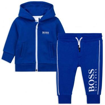 Niebieski dres niemowlęcy dla chłopca Hugo Boss 00490, J08055_829 - ekskluzywne ubranka dla niemowląt - sklep online