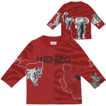 Bluzka niemowlęca dla chłopca Kenzo 004918 - ekskluzywne ubranka dla niemowląt i małych dzieci - internetowy sklep odzieżowy eur