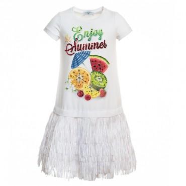 Sukienka dziewczęca z frędzlami Monnalisa 197902S8