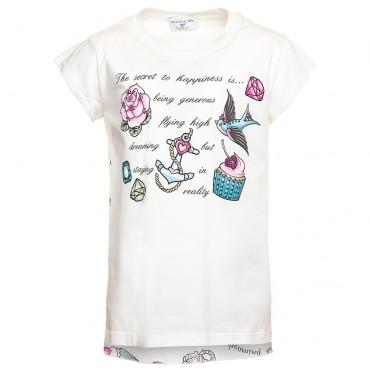 Koszulka MONNALISA 117624SL 7202 0001, euroyoung, luksusowa odzież dla dzieci.