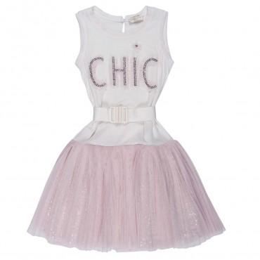 Sukienka dziewczęca z paskiem Monnalisa 791916R2