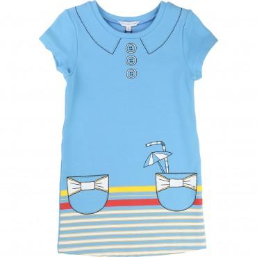 Błękitna sukienka z napojami Little Marc Jacobs 838 A