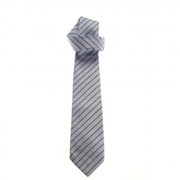 Popielaty krawat w paseczki Simonetta K90002 622