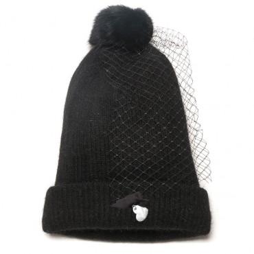 Czarna czapka dziewczęca z woalką Monnalisa 000131