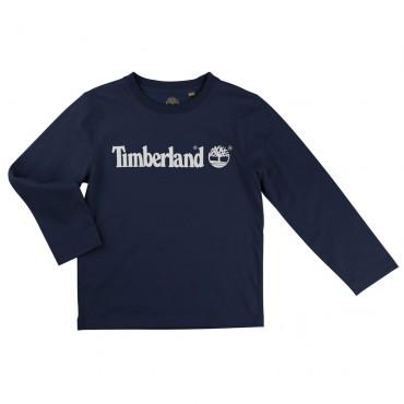Ciemny longsleeve z białym logo Timberland 000325
