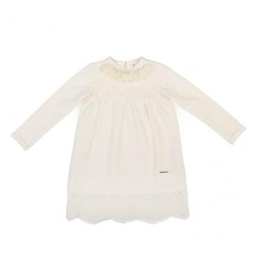 Sukienka dziewczęca ecru z koronką Twin Set 000491