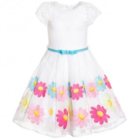 Sukienka biała z niebieskim paskiem Monnalisa 000671 A