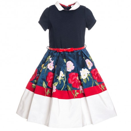 Sukienka z haftem Monnalisa 000702 A