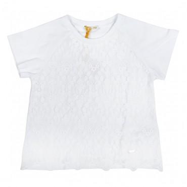 Biały t-shirt dziecięcy z koronką Liu Jo 000817