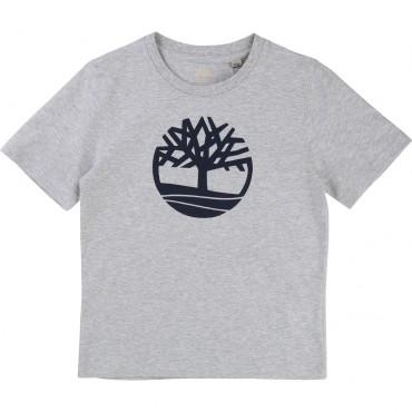Szary t-shirt dla dziecka z logo Timberland 000897