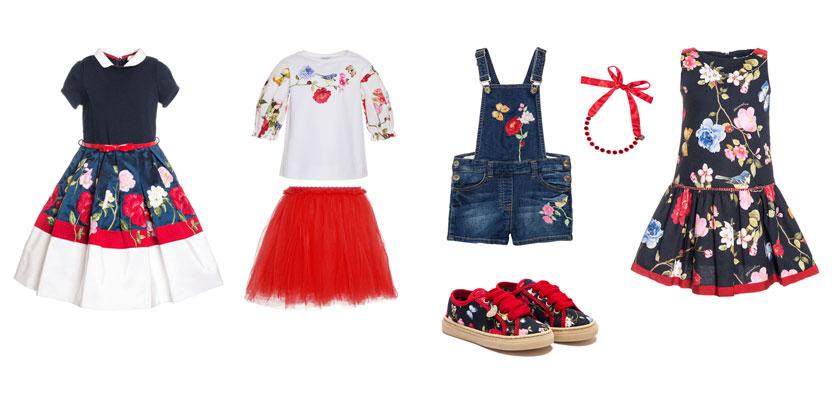 Luksusowe ubrania dla dzieci, Monnalisa, motyw ogrodu.